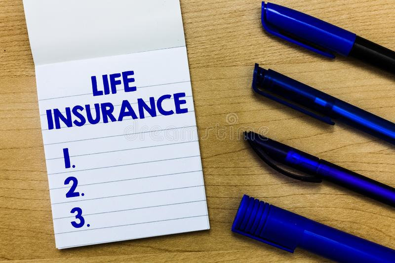 Writing note showing Life Insurance. Business photo showcasing Payment of death benefit or injury Burial or medical claim.  stock images