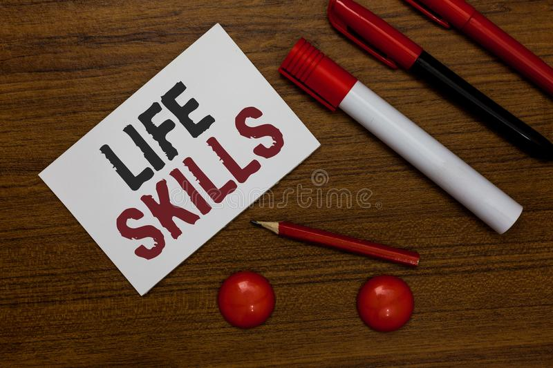Writing note showing Life Skills. Business photo showcasing that is necessary or desirable full participation in everyday White pa. Per markers wooden background vector illustration