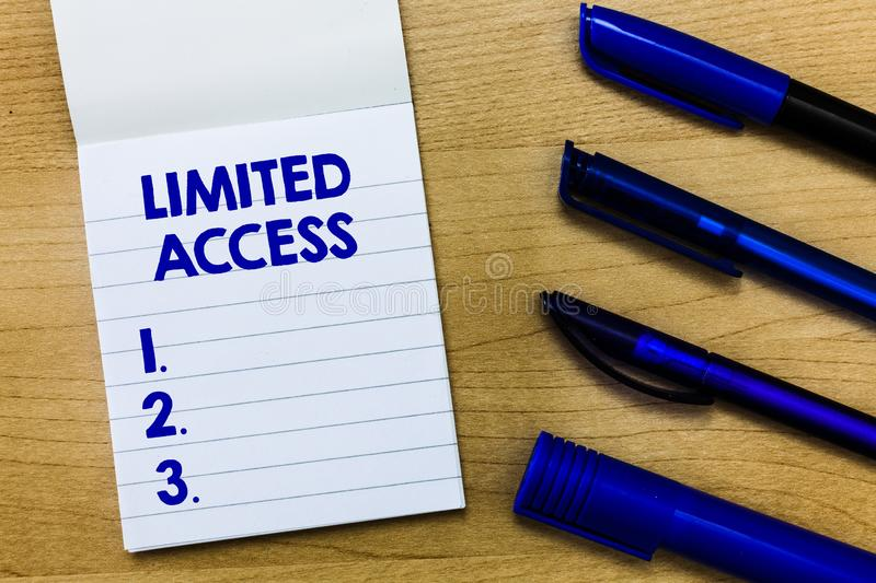 Writing note showing Limited Access. Business photo showcasing Having access restricted to a quite small number of points.  stock photography
