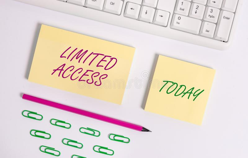 Writing note showing Limited Access. Business photo showcasing Having access restricted to a quite small number of. Writing note showing Limited Access. Business royalty free stock images