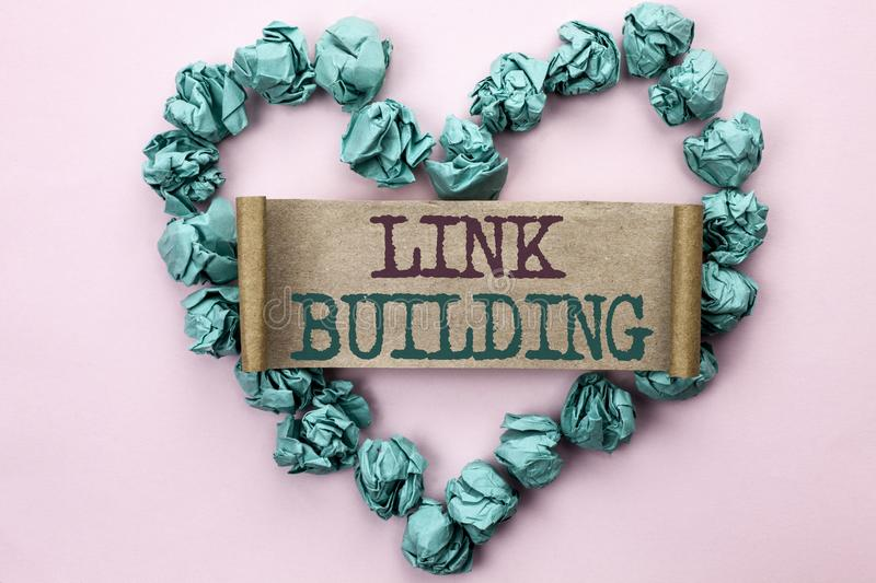Writing note showing Link Building. Business photo showcasing Process of acquiring hyperlinks from other websites Connection writ. Ten Cardboard Piece Heart the royalty free stock images