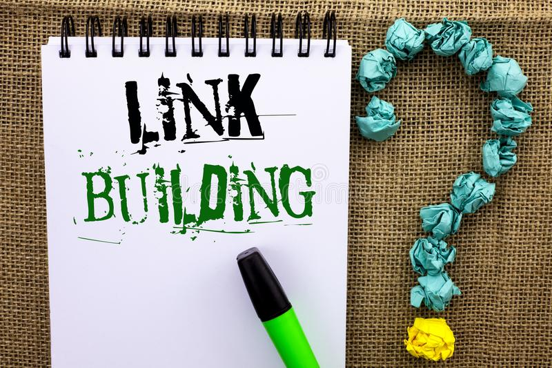 Writing note showing Link Building. Business photo showcasing Process of acquiring hyperlinks from other websites Connection writ. Ten Notebook Book the jute stock photos