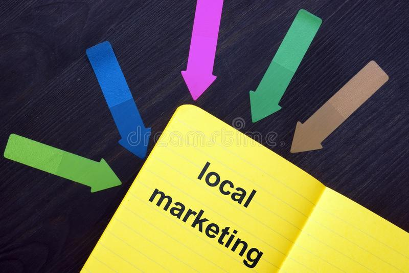 Writing note showing local marketing. Business photo showcasing local marketing. The text is written in the yellow notebook. Many stock images