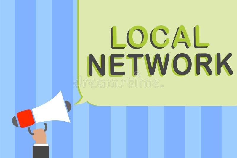 Writing note showing Local Network. Business photo showcasing Intranet LAN Radio Waves DSL Boradband Switch Connection Man holding. Megaphone loudspeaker speech stock photography