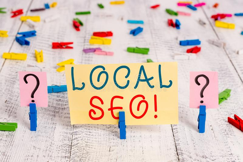 Writing note showing Local Seo. Business photo showcasing incredibly effective way to market your near business online. Writing note showing Local Seo. Business stock image