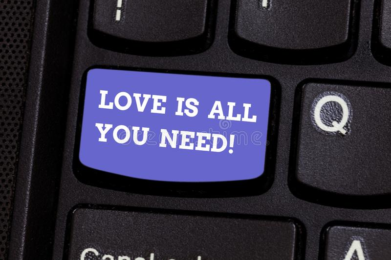 Writing note showing Love Is All You Need. Business photo showcasing Inspiration roanalysistic feelings needed royalty free stock photography
