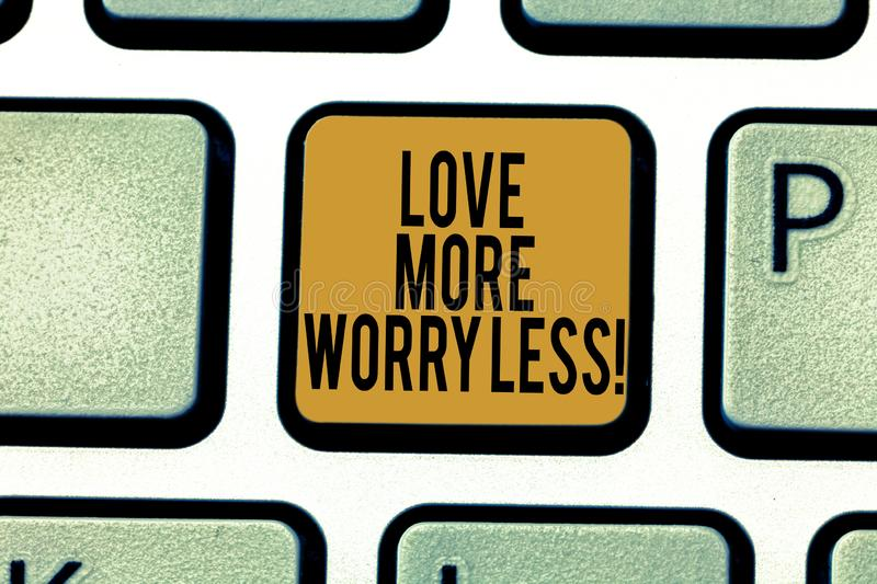 Writing note showing Love More Worry Less. Business photo showcasing Have a good attitude motivation be lovable enjoy. Life Keyboard key Intention to create vector illustration
