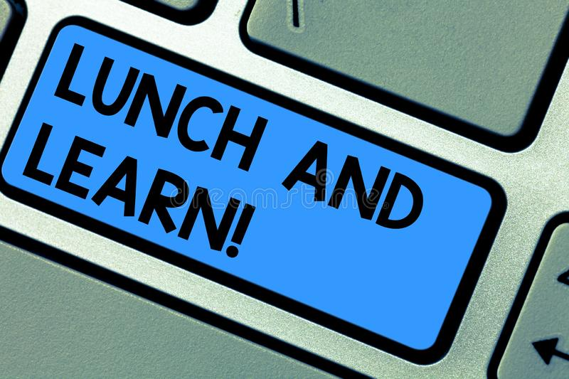Writing note showing Lunch And Learn. Business photo showcasing Have meal and study motivation for education learning. Eating Keyboard key Intention to create royalty free stock images