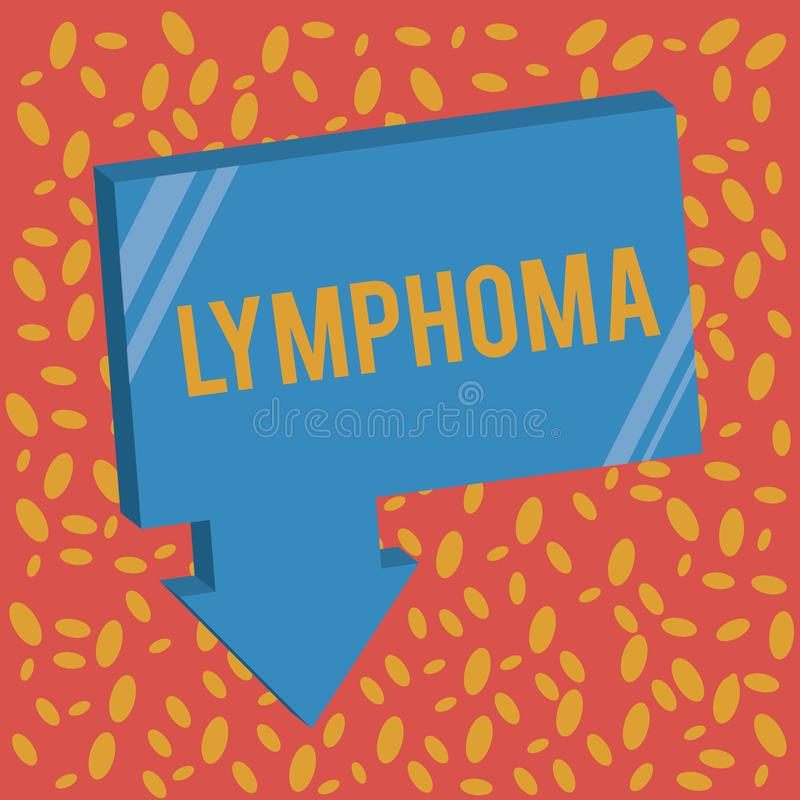 Writing note showing Lymphoma. Business photo showcasing Cancer that begins in infection fighting cells of the immune. System stock illustration