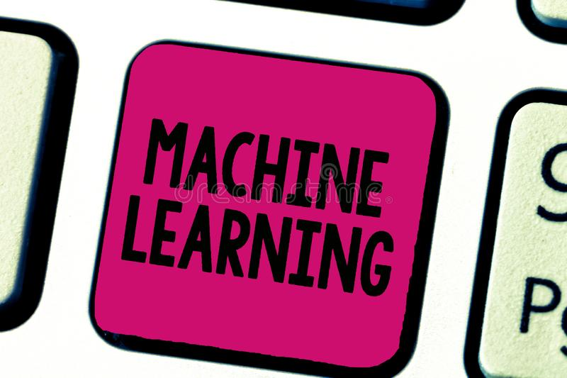 Writing note showing Machine Learning. Business photo showcasing give computers the ability to be taught with data.  stock image