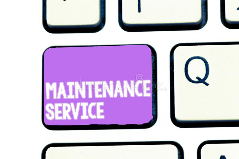 Writing note showing Maintenance Service. Business photo showcasing Keep a Product Service in Good Operating Condition.  stock photos
