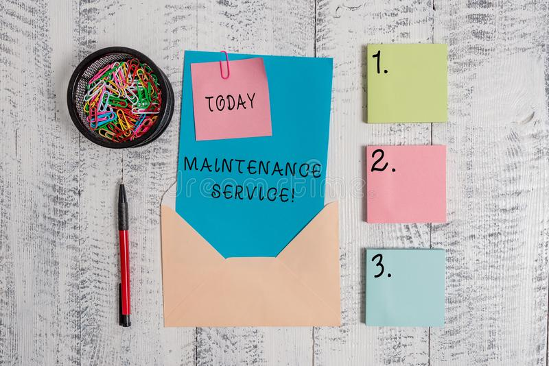 Writing note showing Maintenance Service. Business photo showcasing Keep a Product Service in Good Operating Condition. Writing note showing Maintenance Service stock photo