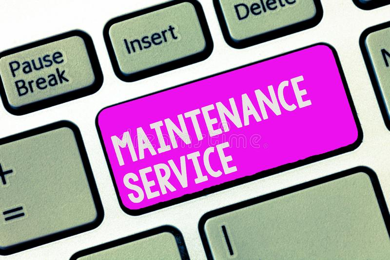 Writing note showing Maintenance Service. Business photo showcasing Keep a Product Service in Good Operating Condition.  royalty free stock photo