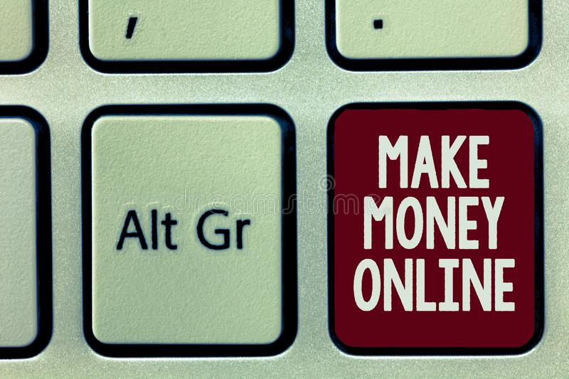 Writing note showing Make Money Online. Business photo showcasing Ecommerce Trading Selling over the internet Freelance.  stock photos