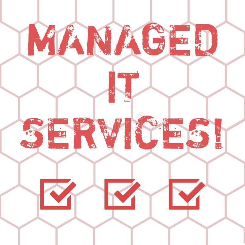 Writing note showing Managed It Services. Business photo showcasing assumes responsibility providing defined set vector illustration