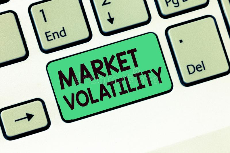 Writing note showing Market Volatility. Business photo showcasing Underlying securities prices fluctuates Stability status stock photos