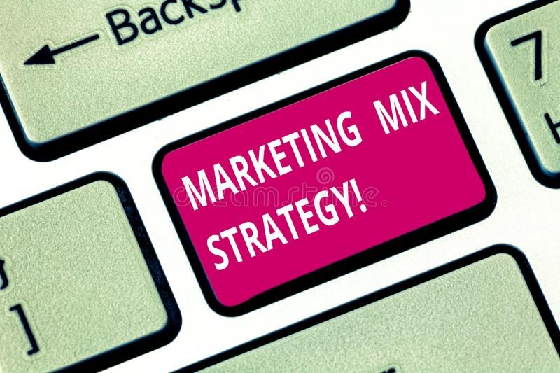 Writing note showing Marketing Mix Strategy. Business photo showcasing Set of governable tactical marketing tool company. Use Keyboard key Intention to create stock photos