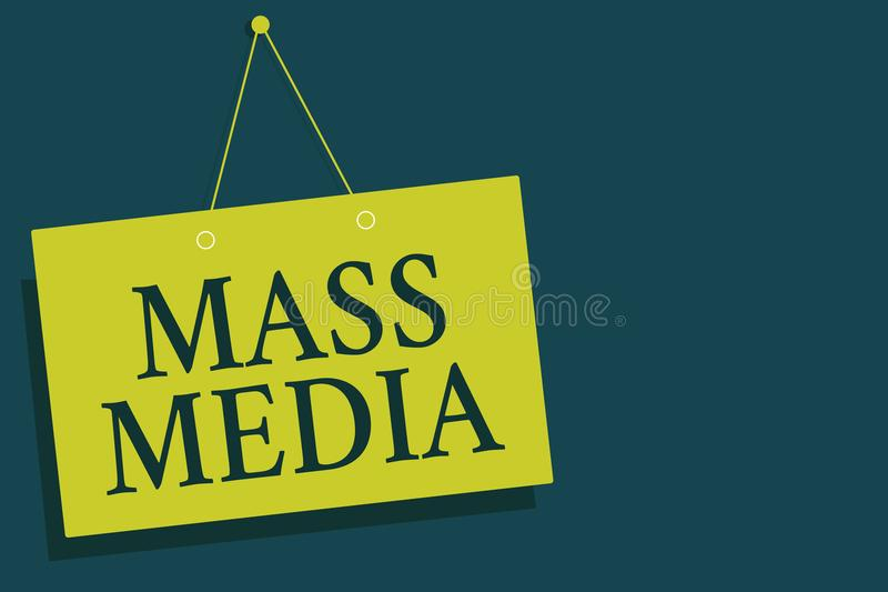 Writing note showing Mass Media. Business photo showcasing Group people making news to the public of what is happening Yellow boar stock photos