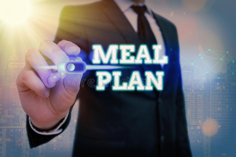 Writing note showing Meal Plan. Business photo showcasing arrangement scheme of what are going to eat next week month. Writing note showing Meal Plan. Business stock images