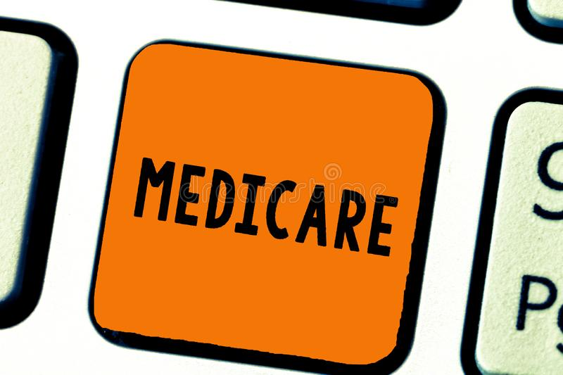 Writing note showing Medicare. Business photo showcasing federal government plan in us for paying certain hospital.  stock images