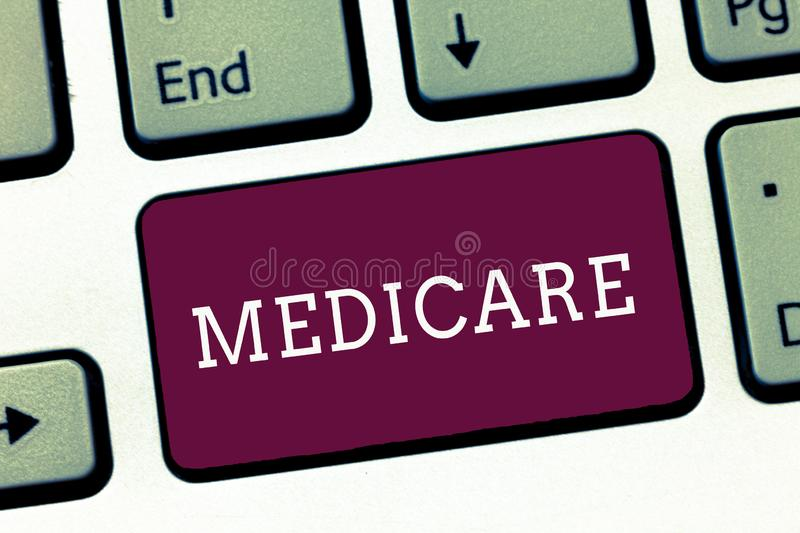 Writing note showing Medicare. Business photo showcasing federal government plan in us for paying certain hospital.  royalty free stock photography