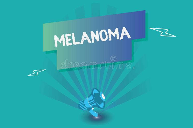 Writing note showing Melanoma. Business photo showcasing A malignant tumor associated with skin cancer Benign moles.  vector illustration
