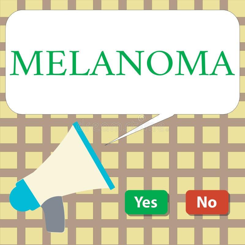 Writing note showing Melanoma. Business photo showcasing A malignant tumor associated with skin cancer Benign moles.  royalty free illustration