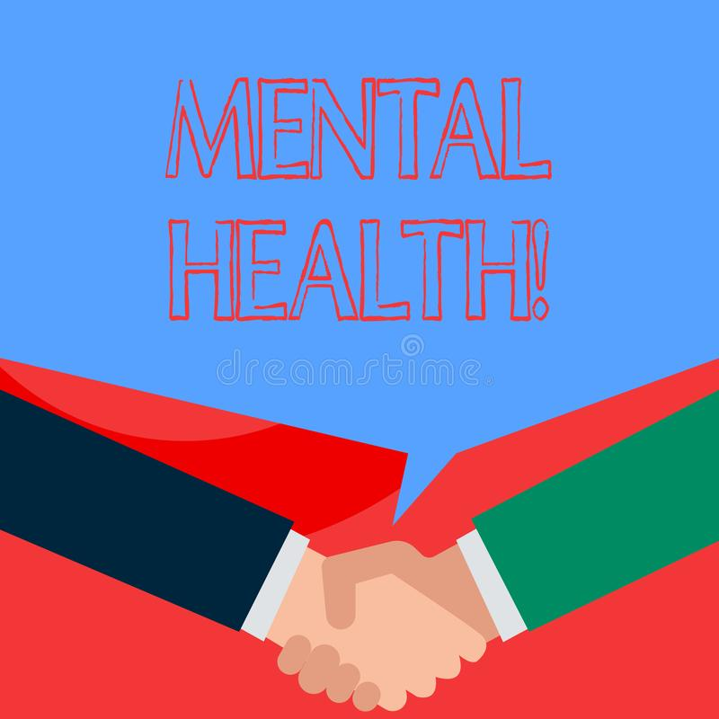 Writing note showing Mental Health. Business photo showcasing demonstratings condition regard to their psychological. Writing note showing Mental Health royalty free illustration