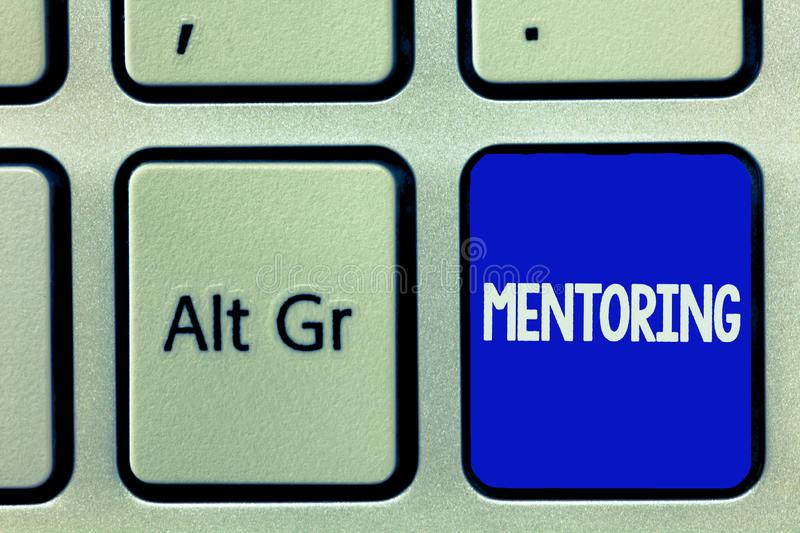 Writing note showing Mentoring. Business photo showcasing To give advice or support to a younger less experienced. Demonstrating royalty free stock photo