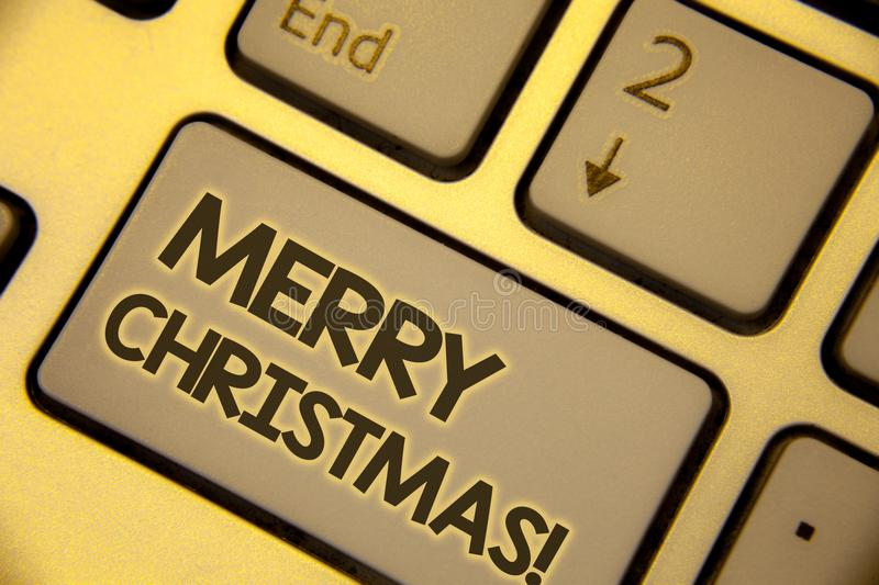 Writing note showing Merry Christmas Motivational Call. Business photo showcasing Holiday Season Celebration December Text two Wo. Rds written Computer Keyboard stock photography
