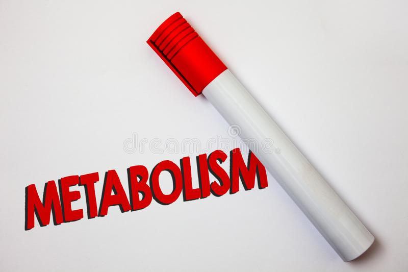 Writing note showing Metabolism. Business photo showcasing Chemical processes in body to produce energy food processing Bold board. Pen red ink marker cap paper stock photo