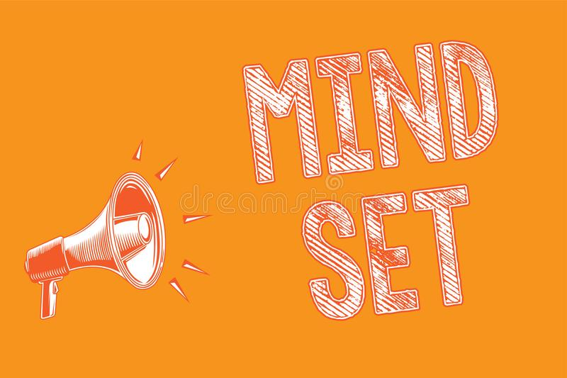 Writing note showing Mind Set. Business photo showcasing A standard thought of a person of what he or she will be done Grunge Mega vector illustration