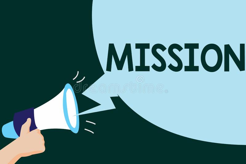 Writing note showing Mission. Business photo showcasing Corporate goal Important Assignment Business purpose and focus.  stock illustration