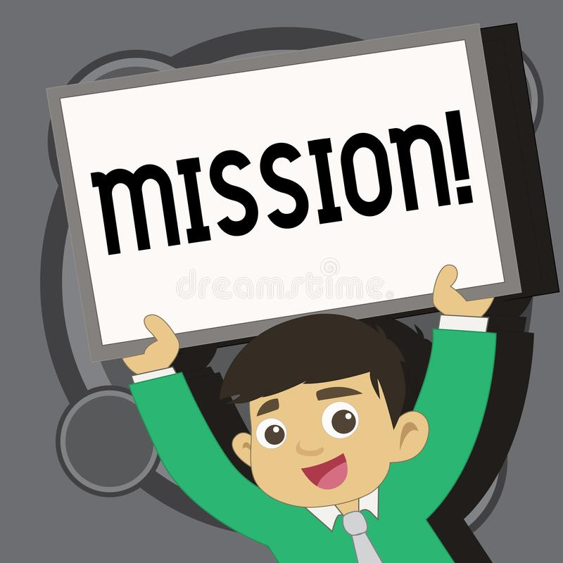 Writing note showing Mission. Business photo showcasing Corporate goal Important Assignment Business purpose and focus. Writing note showing Mission. Business royalty free illustration