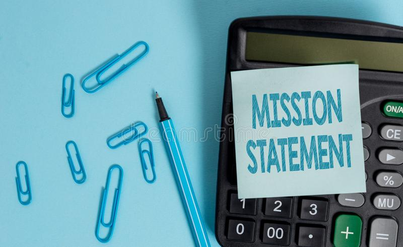 Writing note showing Mission Statement. Business photo showcasing Formal summary of the aims and values of a company. Writing note showing Mission Statement royalty free stock photos