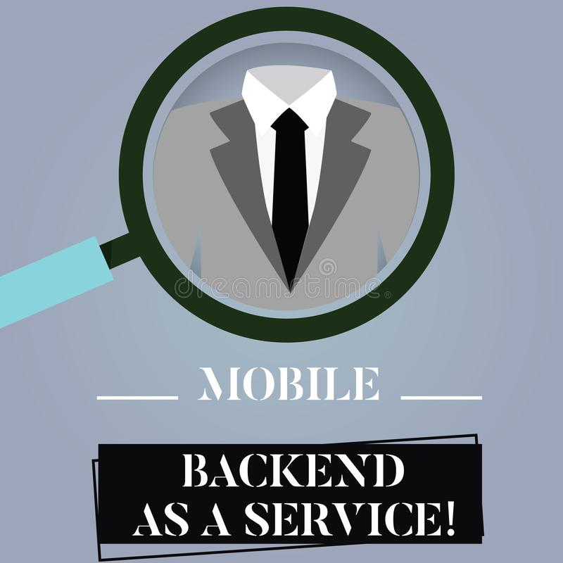 Writing note showing Mobile Backend As A Service. Business photo showcasing Mbaas Link web and mobile apps to cloud. Storage Magnifying Glass Enlarging a Tuxedo stock illustration