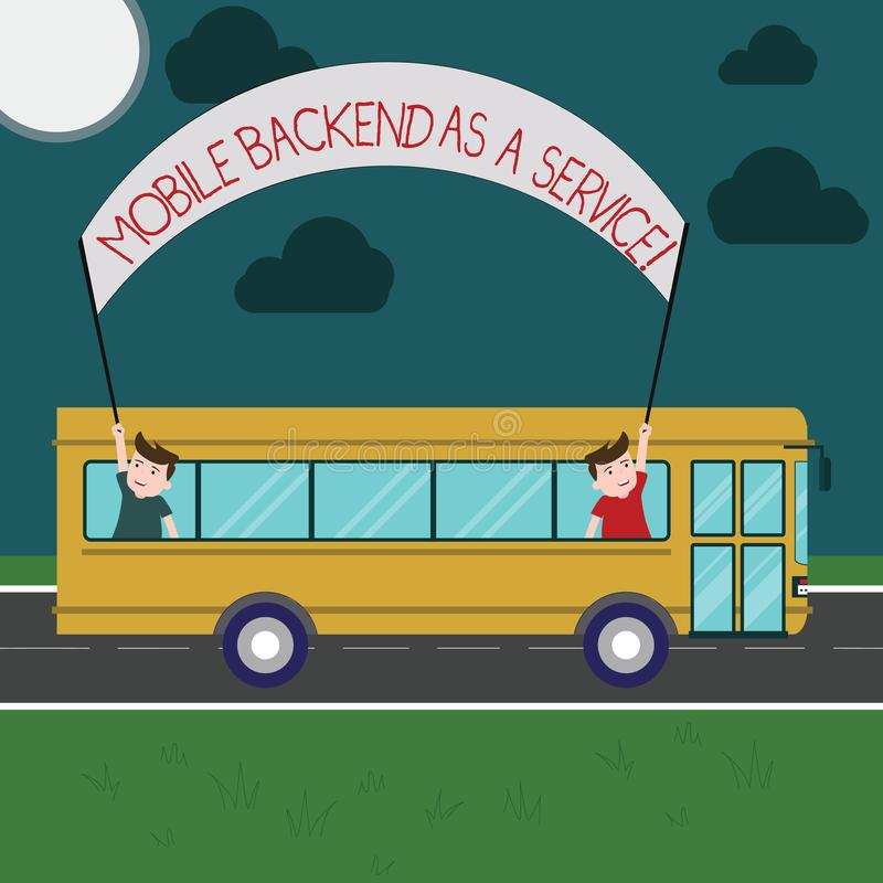 Writing note showing Mobile Backend As A Service. Business photo showcasing Mbaas Link web and mobile apps to cloud storage Two. Kids Inside School Bus Holding vector illustration