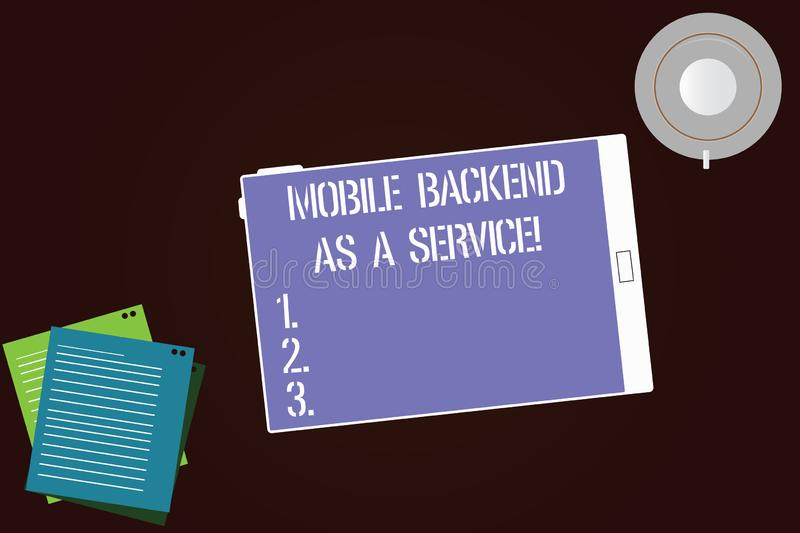 Writing note showing Mobile Backend As A Service. Business photo showcasing Mbaas Link web and mobile apps to cloud. Storage Tablet Screen Cup Saucer and Filler vector illustration