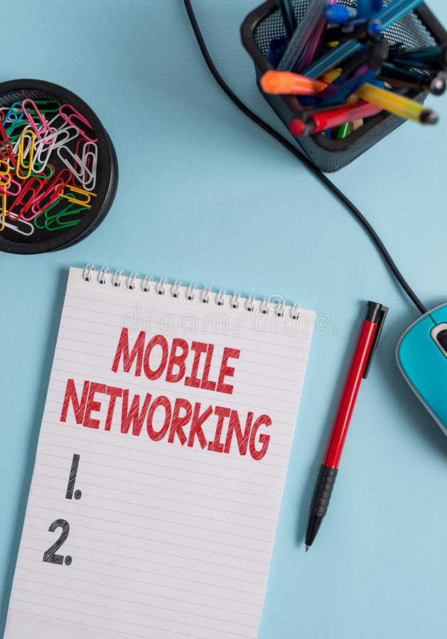 Writing note showing Mobile Networking. Business photo showcasing Communication network where the last link is wireless. Writing note showing Mobile Networking royalty free stock photos