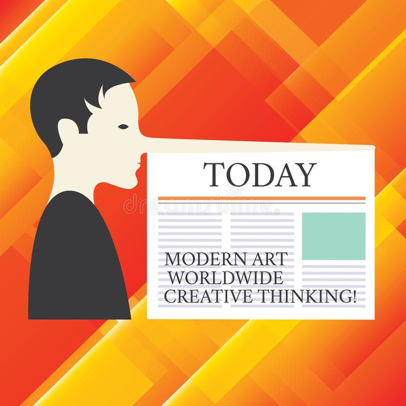 Writing note showing Modern Art Worldwide Creative Thinking. Business photo showcasing Creativity artistic expressions Man with a. Very Long Nose like Pinocchio royalty free stock photography
