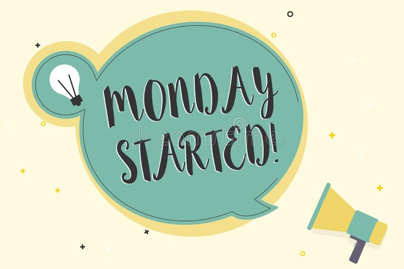 Writing note showing Monday Started. Business photo showcasing getting ready for new week Rest is over lets begin work.  vector illustration