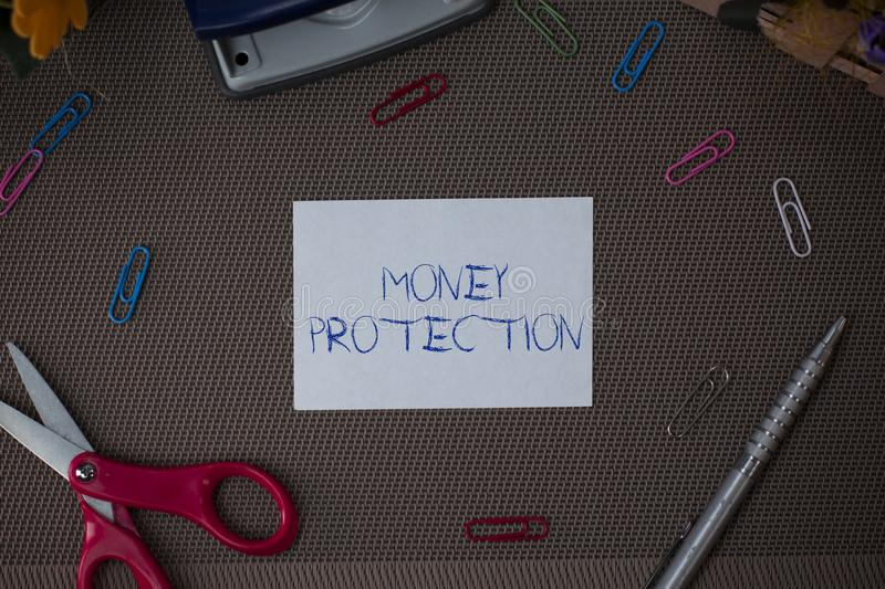 Writing note showing Money Protection. Business photo showcasing protects the rental money tenant pays to landlord. Writing note showing Money Protection royalty free stock image