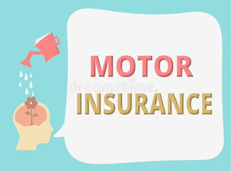 Writing note showing Motor Insurance. Business photo showcasing Provides financial compensation to cover any injuries.  royalty free illustration
