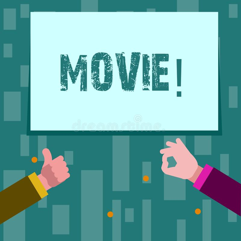 Writing note showing Movie. Business photo showcasing Cinema or television film Motion picture Video displayed on screen. Writing note showing Movie. Business royalty free illustration