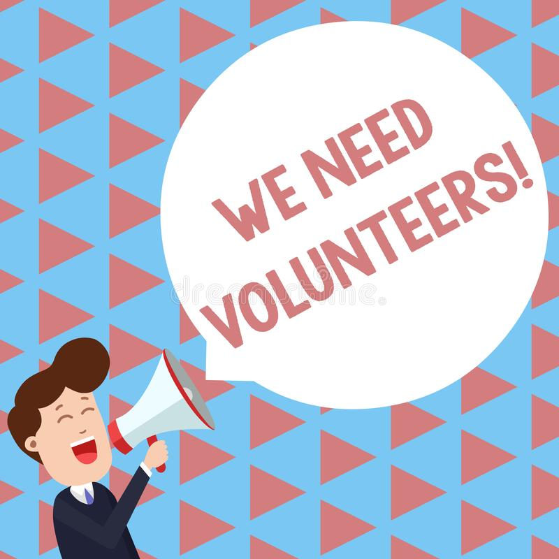 Writing note showing We Need Volunteers. Business photo showcasing someone who does work without being paid for it Young. Writing note showing We Need Volunteers stock illustration