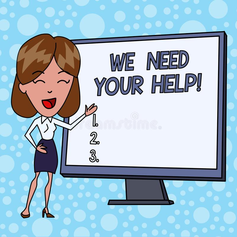 Writing note showing We Need Your Help. Business photo showcasing asking someone to stand with you against difficulty. Writing note showing We Need Your Help stock illustration
