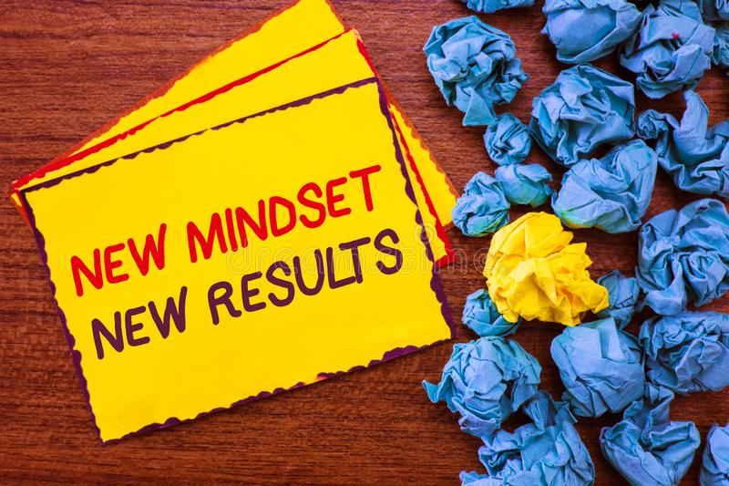 Writing note showing New Mindset New Results. Business photo showcasing Open to Opportunities No Limits Think Bigger.  royalty free stock photography