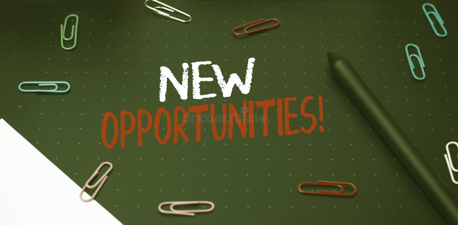 Writing note showing New Opportunities. Business photo showcasing exchange views condition favorable for attainment goal Scissors. Writing note showing New royalty free stock photography