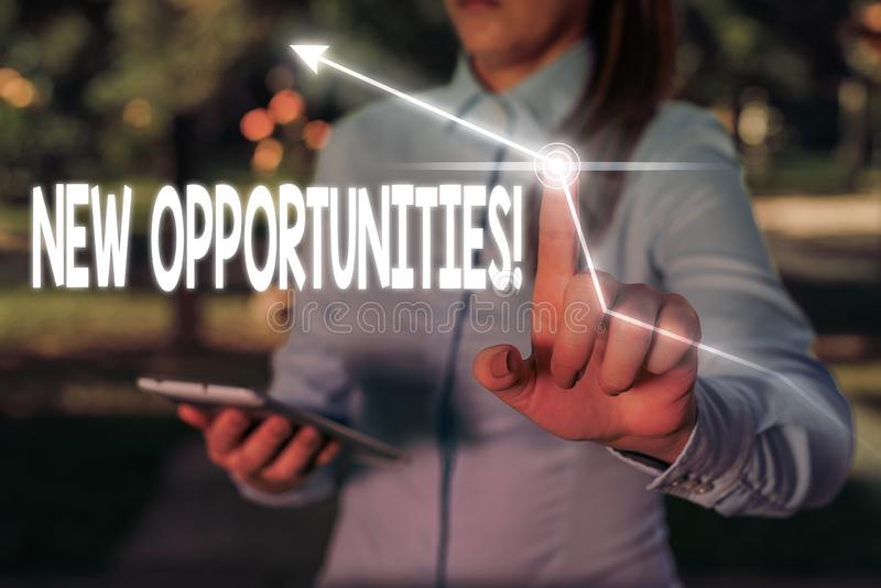 Writing note showing New Opportunities. Business photo showcasing exchange views condition favorable for attainment goal. Writing note showing New Opportunities royalty free stock photos