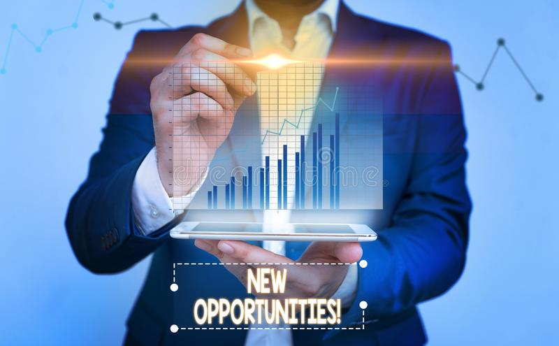 Writing note showing New Opportunities. Business photo showcasing exchange views condition favorable for attainment goal. Writing note showing New Opportunities royalty free stock image